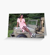 Violet on a Jeep Greeting Card