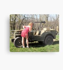 Cassie and 1944 Willys MB Metal Print