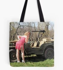 Cassie and 1944 Willys MB Tote Bag