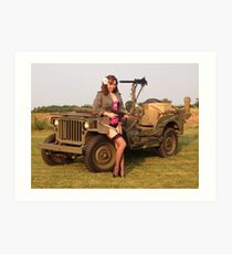 Christine with a 1944 Willys MB Art Print