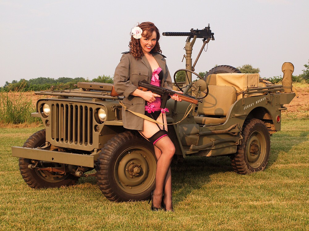 Christine with a 1944 Willys MB by LibertyCalendar