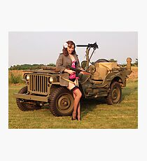 Christine with a 1944 Willys MB Photographic Print