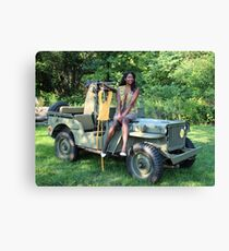 Violet on a Jeep, Tuskegee Airman Canvas Print