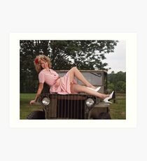 Amanda on a 1941 Willys MB Slat Grille Art Print