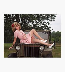 Amanda on a 1941 Willys MB Slat Grille Photographic Print