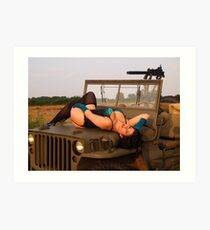 Brunette on a 1944 Willys MB Jeep Art Print