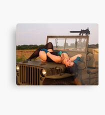 Brunette on a 1944 Willys MB Jeep Metal Print