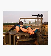 Brunette on a 1944 Willys MB Jeep Photographic Print