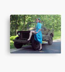 Dori Jean with a 1941 Willys MB Metal Print