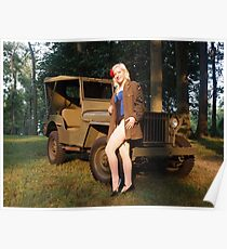 Andie with a 1941 Willys MB Poster