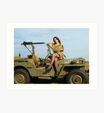 Ashley on a '44 Willys MB Art Print