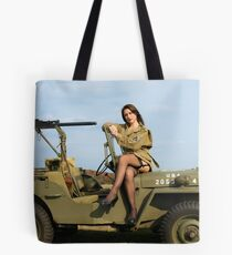 Ashley on a '44 Willys MB Tote Bag