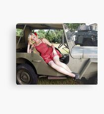 Brittany in a 1941 Willys MB Metal Print