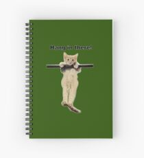 hang in there baby cute kitty cat kitten on branch  Spiral Notebook