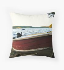 Boat at Lac La Blanche, Quebec Throw Pillow