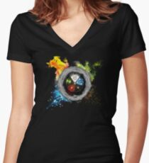 Elemental  Battle Women's Fitted V-Neck T-Shirt