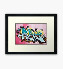 Abstract Colorful Graffiti on the textured wall Framed Print