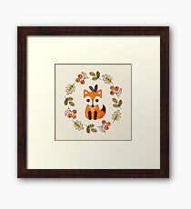 Little Fox with Autumn Berries Framed Print
