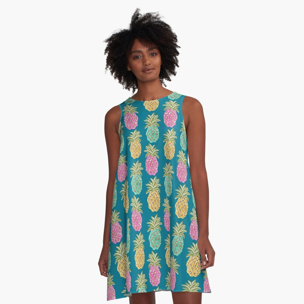 pineapple summer, biscay green, pink and sunrise yellow on mosaic blue  A-Line Dress