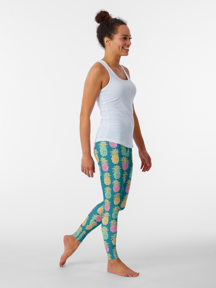 Alternate view of pineapple summer, biscay green, pink and sunrise yellow on mosaic blue  Leggings