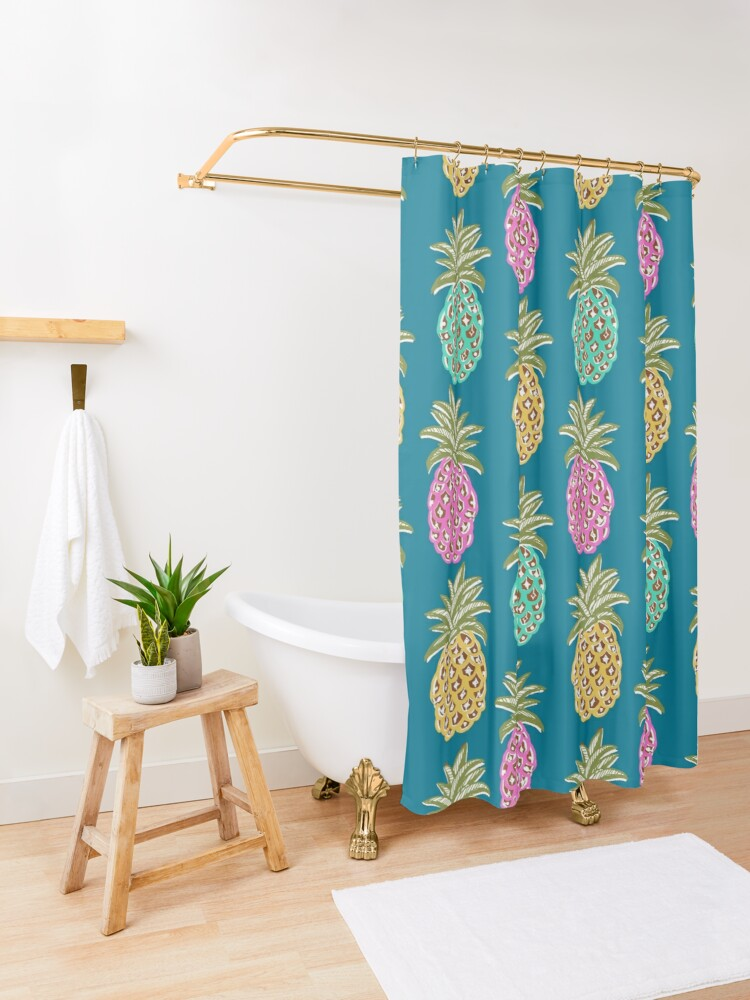 Alternate view of pineapple summer, biscay green, pink and sunrise yellow on mosaic blue  Shower Curtain