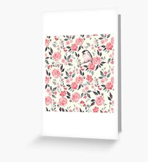 Watercolor floral background with cute bird /2 Greeting Card