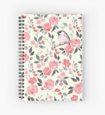 Watercolor floral background with cute bird /2 Spiral Notebook