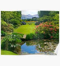 Long lawn, Flaxmere Gardens, South Island, NZ. Poster