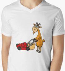 Funny Goat Pushing Lawn Mower T-Shirt