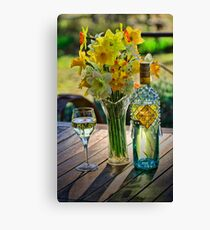 Sunshine and Daffodils and wine of course Canvas Print