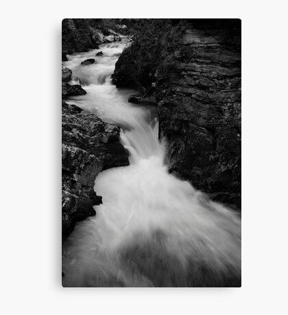 The Soteska Vintgar gorge in Black and White Canvas Print