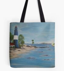 Lighthouse, a great day for sailing Tote Bag