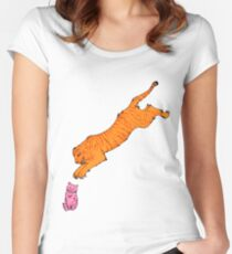 Sabre Toothed Tiger vs Kitten Women's Fitted Scoop T-Shirt