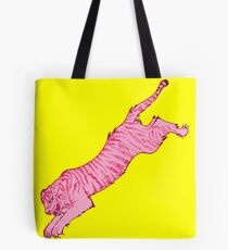 Pink Sabre-Toothed Tiger Jump on Yellow Tote Bag