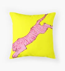 Pink Sabre-Toothed Tiger Jump on Yellow Throw Pillow