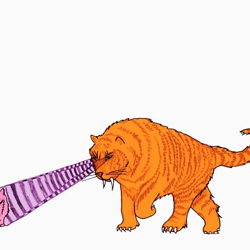 Sabre-Tooth Tiger Stalking a Pink Kitten (with laser eyes) by joshwedlake