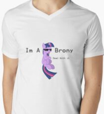I'm a Brony Deal with it. (Twilight Sparkle) - My little Pony Friendship is Magic Men's V-Neck T-Shirt