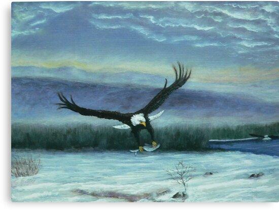 Eagle in flight by Dan Wagner