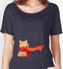 Tabby loves Snow Women's Relaxed Fit T-Shirt