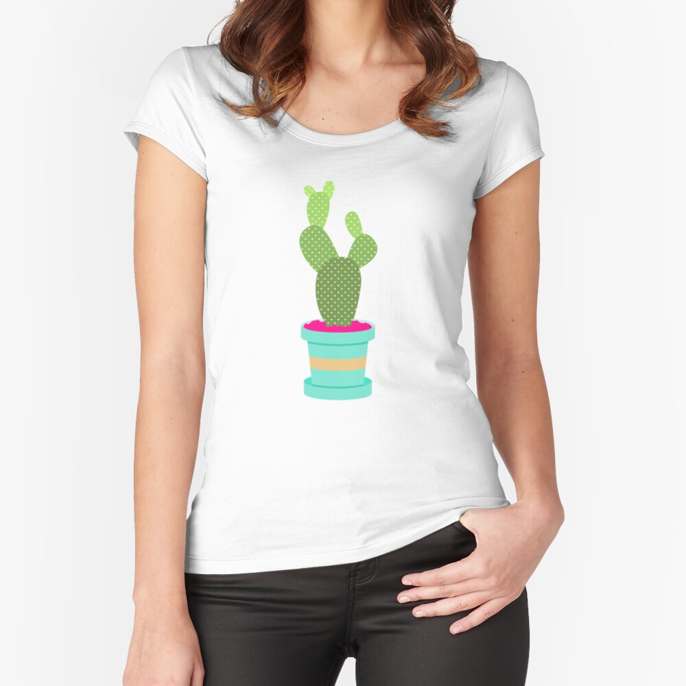 Friendly Cactus Fitted Scoop T-Shirt