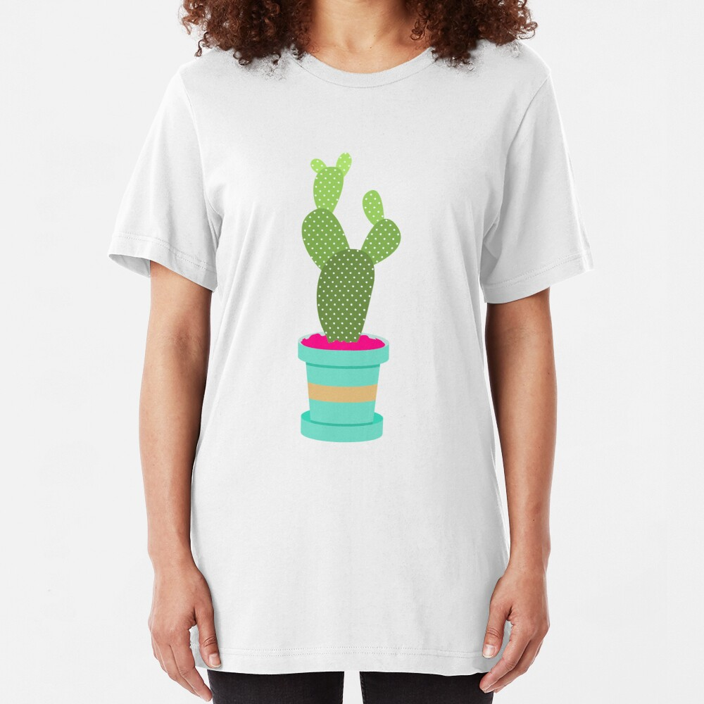 Friendly Cactus Slim Fit T-Shirt