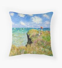 Claude Monet - Walk on the Cliff at Pourville Throw Pillow