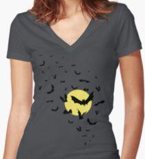 Bat Swarm Women's Fitted V-Neck T-Shirt