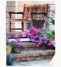 Pink Petunias and Watering Cans Poster