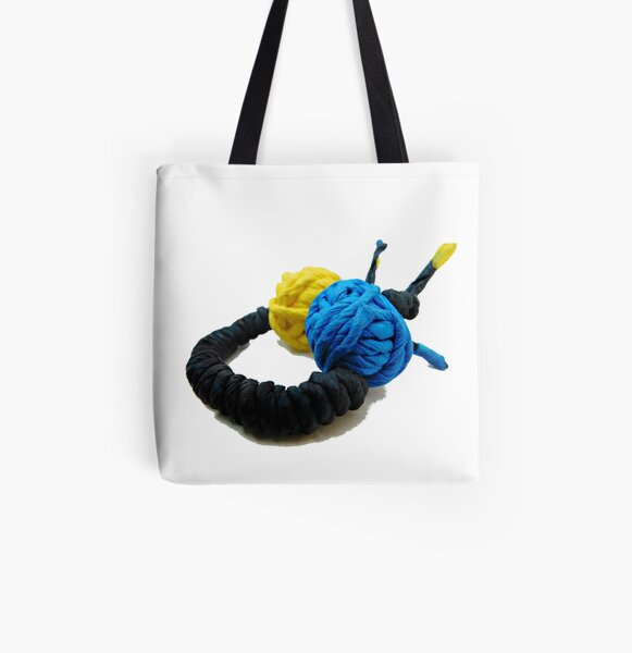 JUMPING COLORS - blue and yellow on a ring -   All Over Print Tote Bag