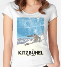 Ski Kitzbühel Austria (eroded) Women's Fitted Scoop T-Shirt
