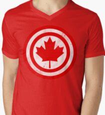 Captain Canada (Distressed) Men's V-Neck T-Shirt