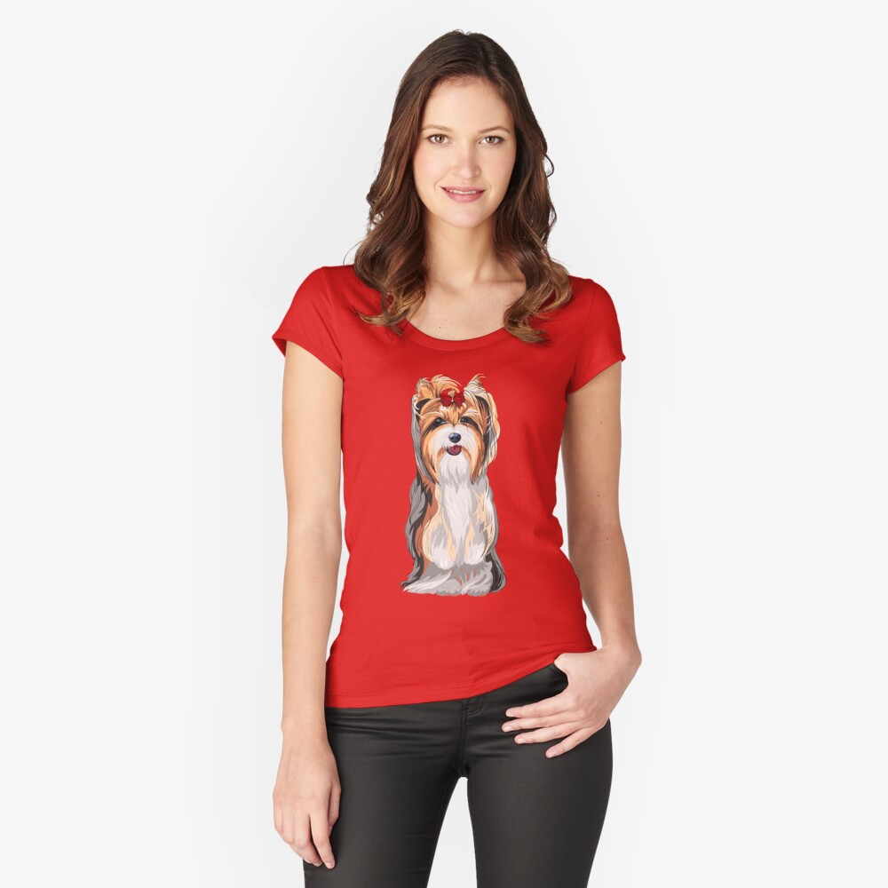 Yorkshire Terrier with a bow Fitted Scoop T-Shirt