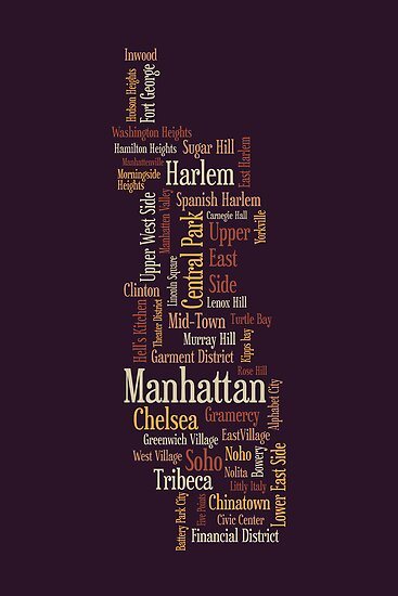 Manhattan New York Typographic Map by Michael Tompsett