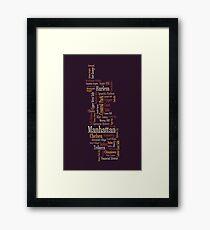 Manhattan New York Typographic Map Framed Print